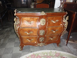 "Louis XV style marble top commode, 20th c, heavy brass mounts, 48"" w, 21"" d, 39"" h ASGCON $1,250."